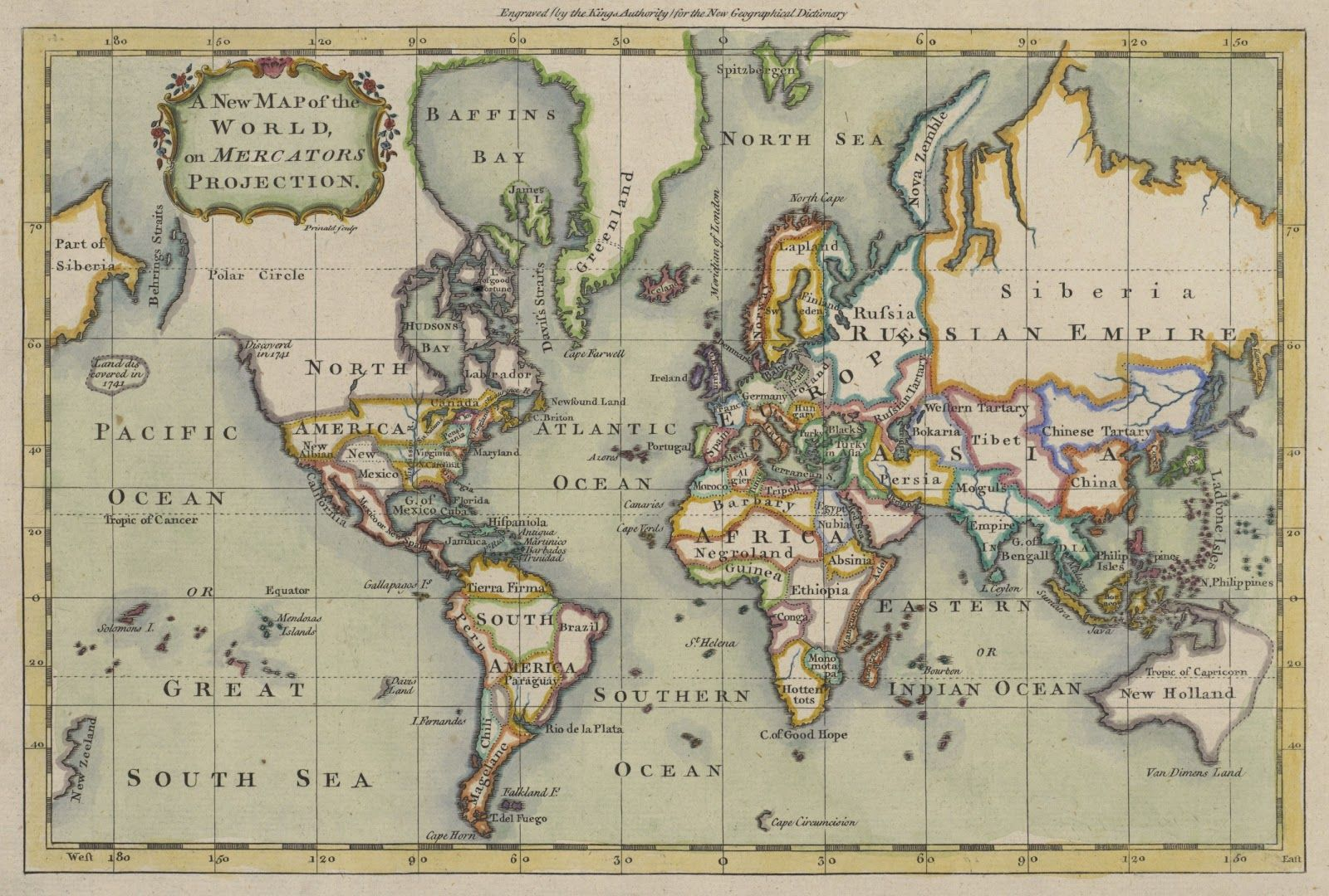 18th Century World Map On Mercartor S Projection Engraved
