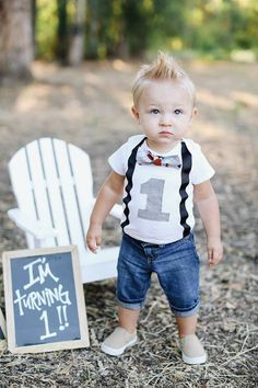 Boys First Birthday Outfit Baby Boy Clothes Black Suspenders And
