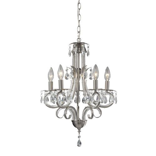 Z Lite Pearl Five Light Brushed Nickel Tall Mini Chandelier With Clear Crystals
