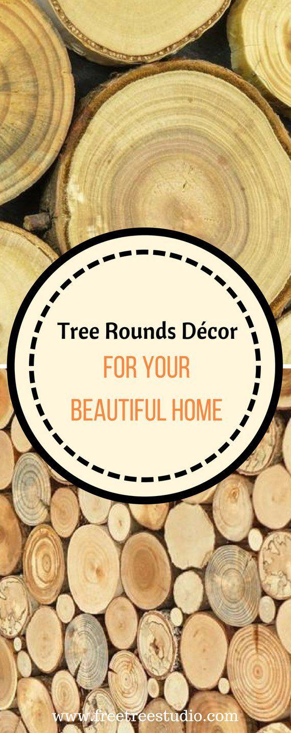 Round wood wall art tree rounds decor holzwand kunst tree slices
