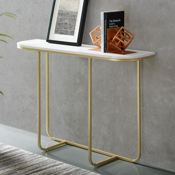 Welwick Designs White Faux Marble Gold Modern Curved Entry Table Hd8135 The Home Depot In 2020 White Entryway Table Entry Table Entryway Tables