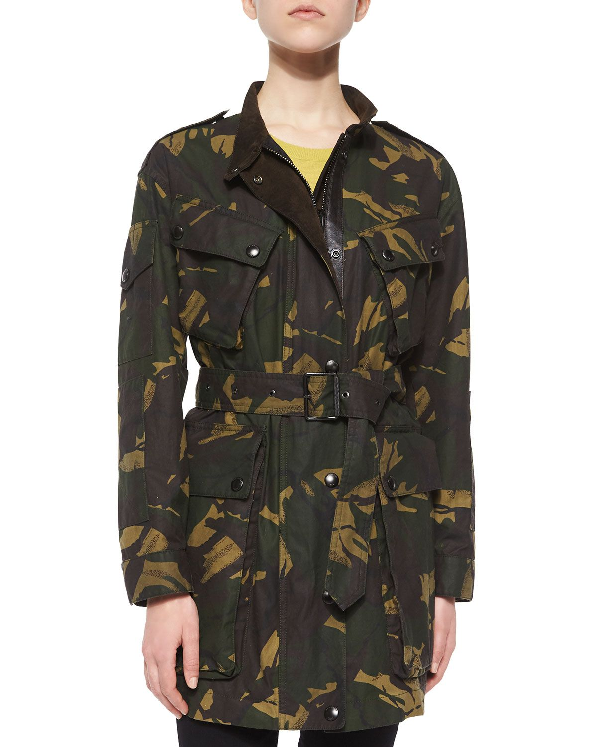 36b7bdcd98650 Tomsdale Oversized Four-Pocket Trench Coat, Women's, Size: 8, Forest Green  Camo - Burberry Brit