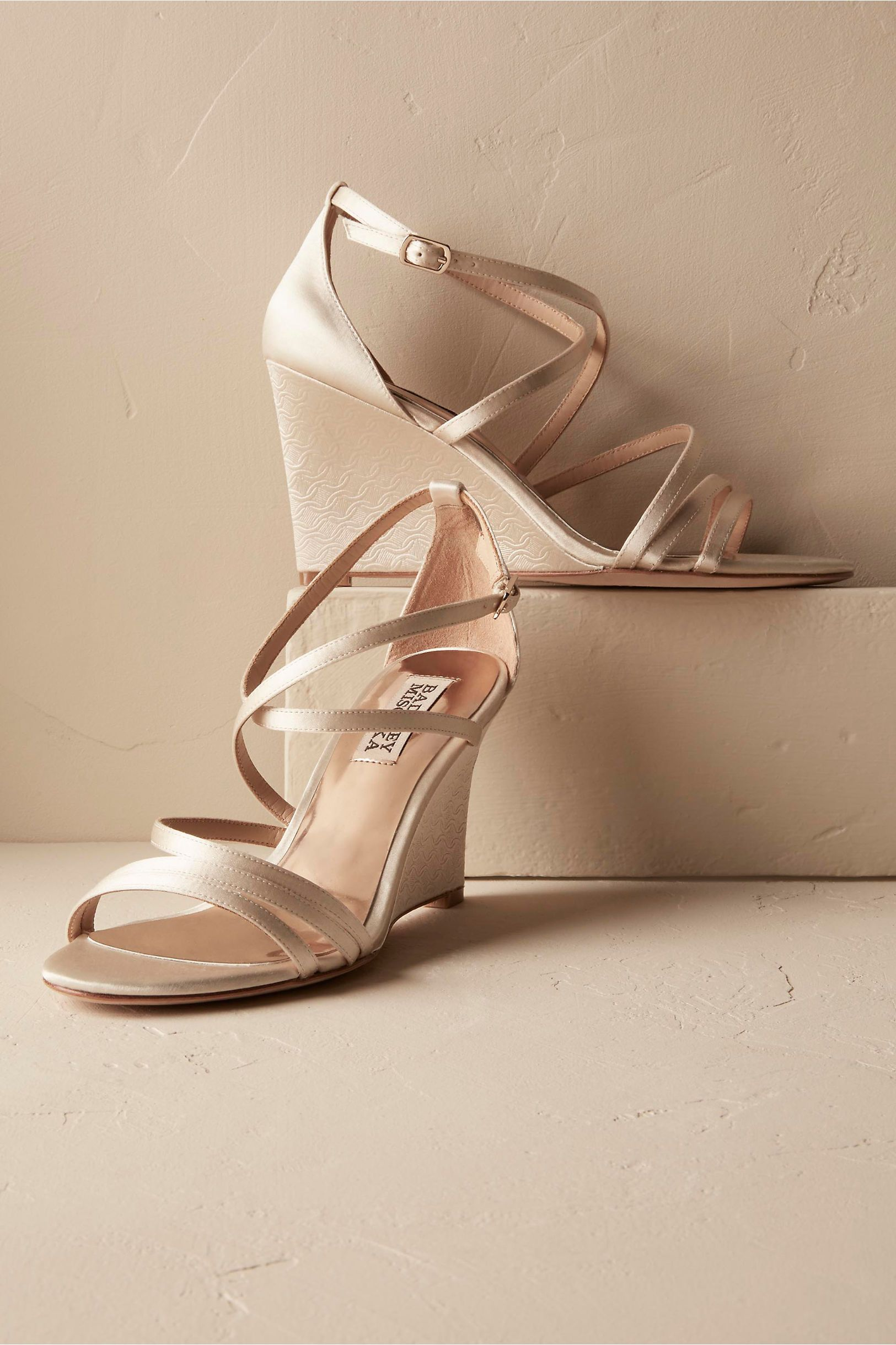 BHLDN\'s Badgley Mischka Candace Wedges in Ivory | Products