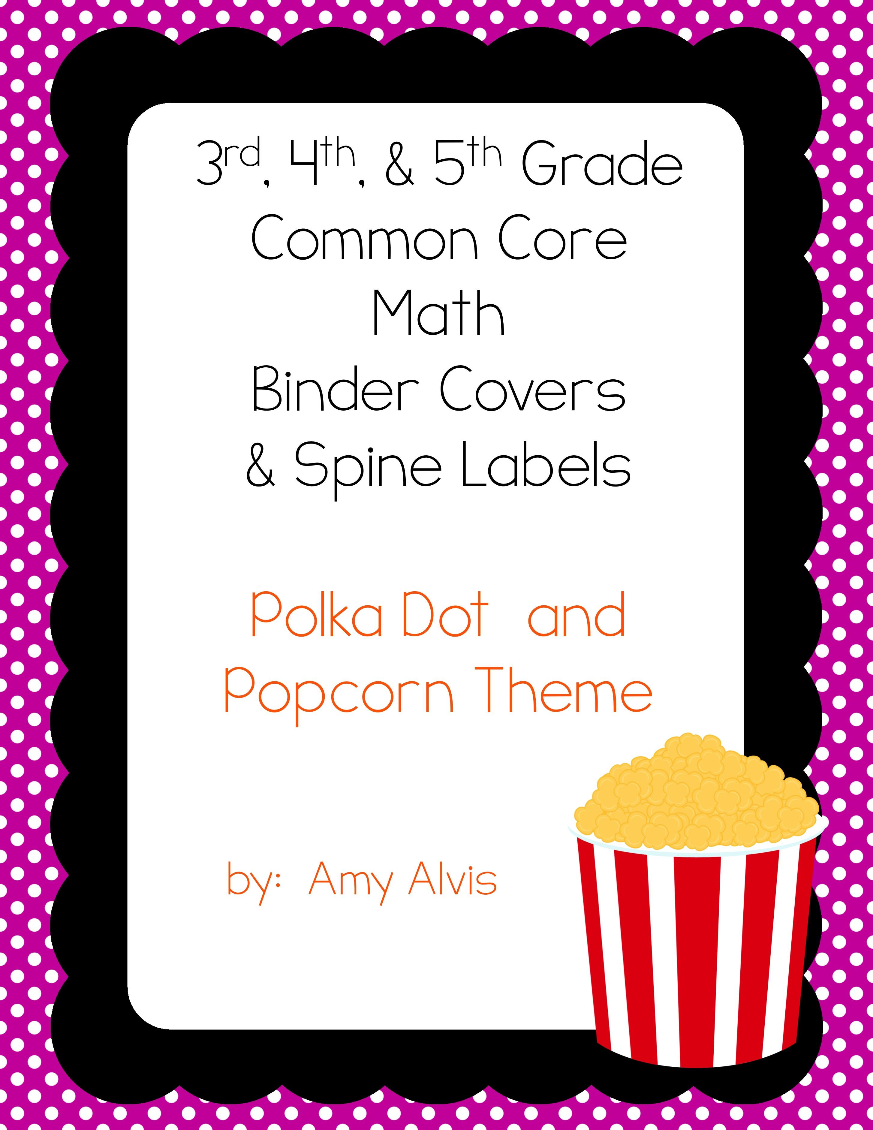 CCSS Math Binder Covers and Spine Labels - 3rd - 5th grade - Popcorn theme, $