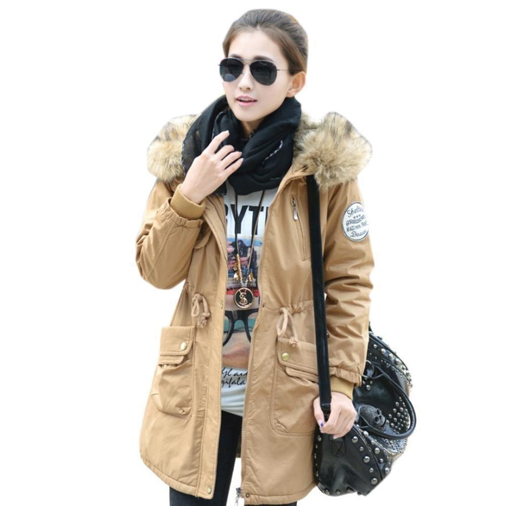 Women Ladies Warm Winter Faux Fur Hooded Jacket Parka Coat Outerwear