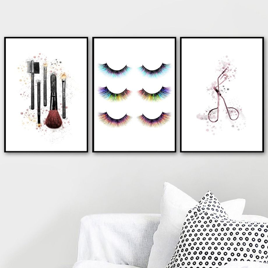 Watercolor Fashion Vogue Makeup Eyelash Wall Art Canvas Painting Nordic Poster And Print Picture Wall Art Canvas Painting Canvas Wall Art Room Artwork