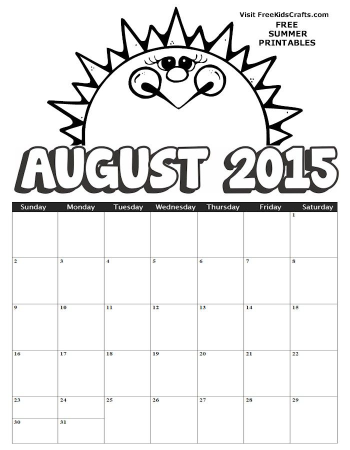 2015 August Coloring Calendar Kids Crafts Activities Learning