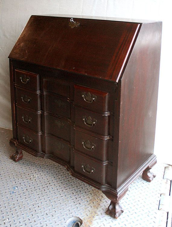 Antique Maddox Chippendale Mahogany Slant Front By