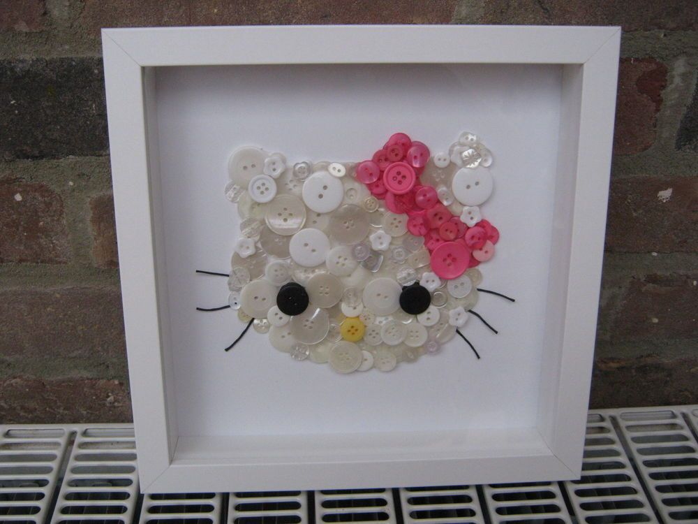 UNIQUE HANDMADE HELLO KITTY BUTTON ART BOX FRAMED PICTURE CUSTOM ...