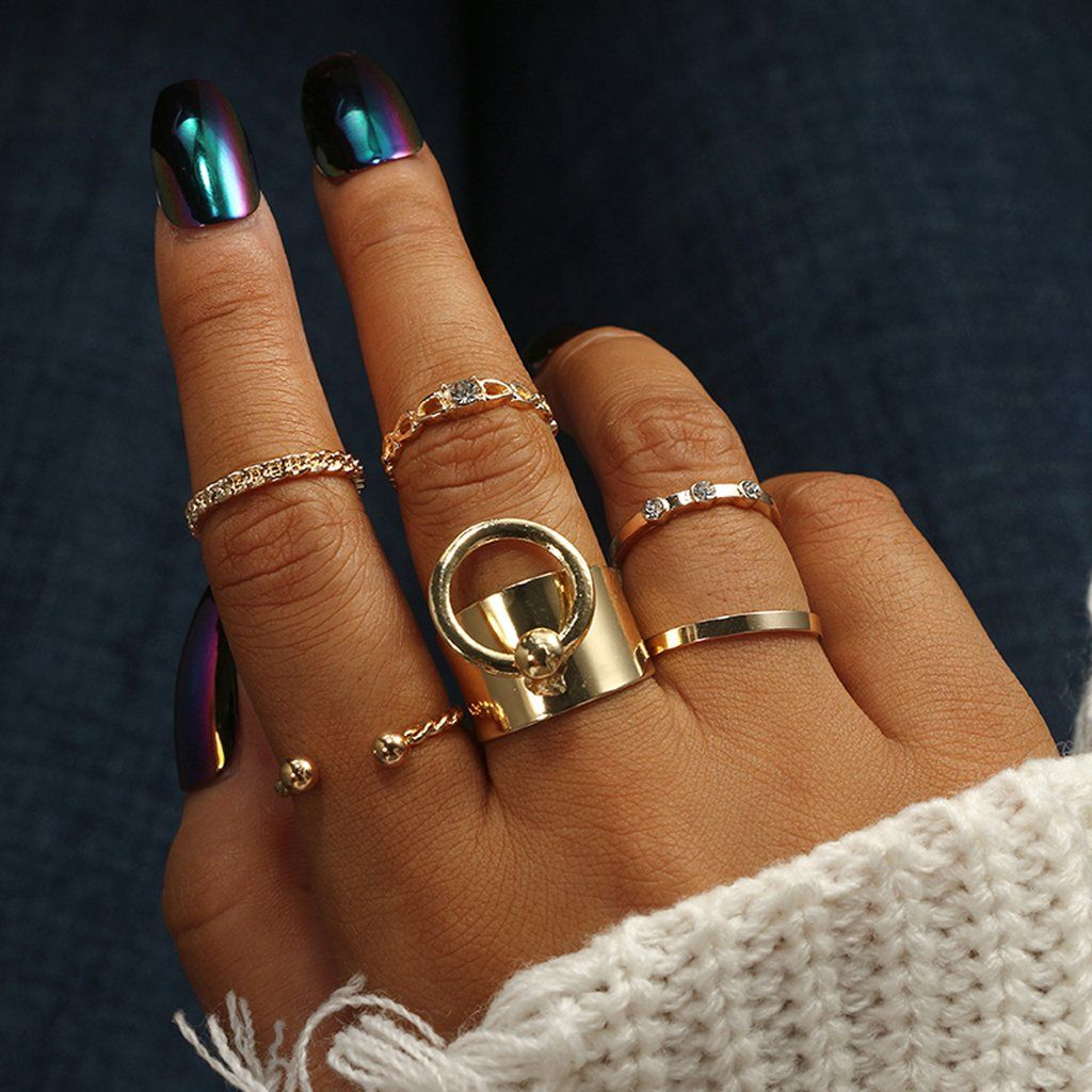 b381abb52b Gracie Chunky Statement Rings & Minimalist Stackable Simple Ring Set i –  MyBodiArt