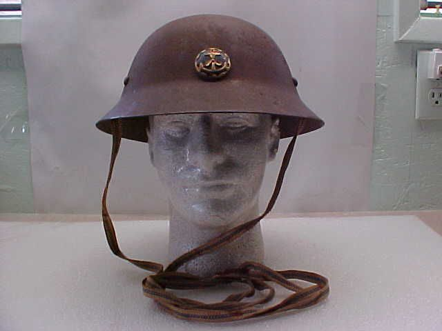 WW2 Japanese Civil Defense Helmet With Unusual Badge. Liner & Chin Strap.