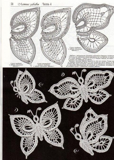 схемы вязания платья   crocheting   Pinterest   Mariposas, Ganchillo ...
