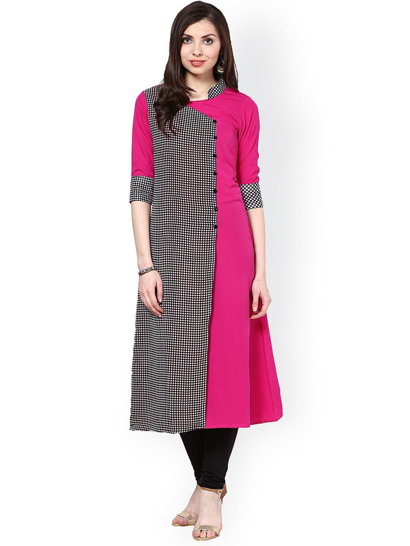 c5a0f1f2731 Buy La Firangi Pink   Black Printed Polyester Crepe Kurta for Women at Rs.  799  LaFirangi  Pink  Kurta  Angrakha