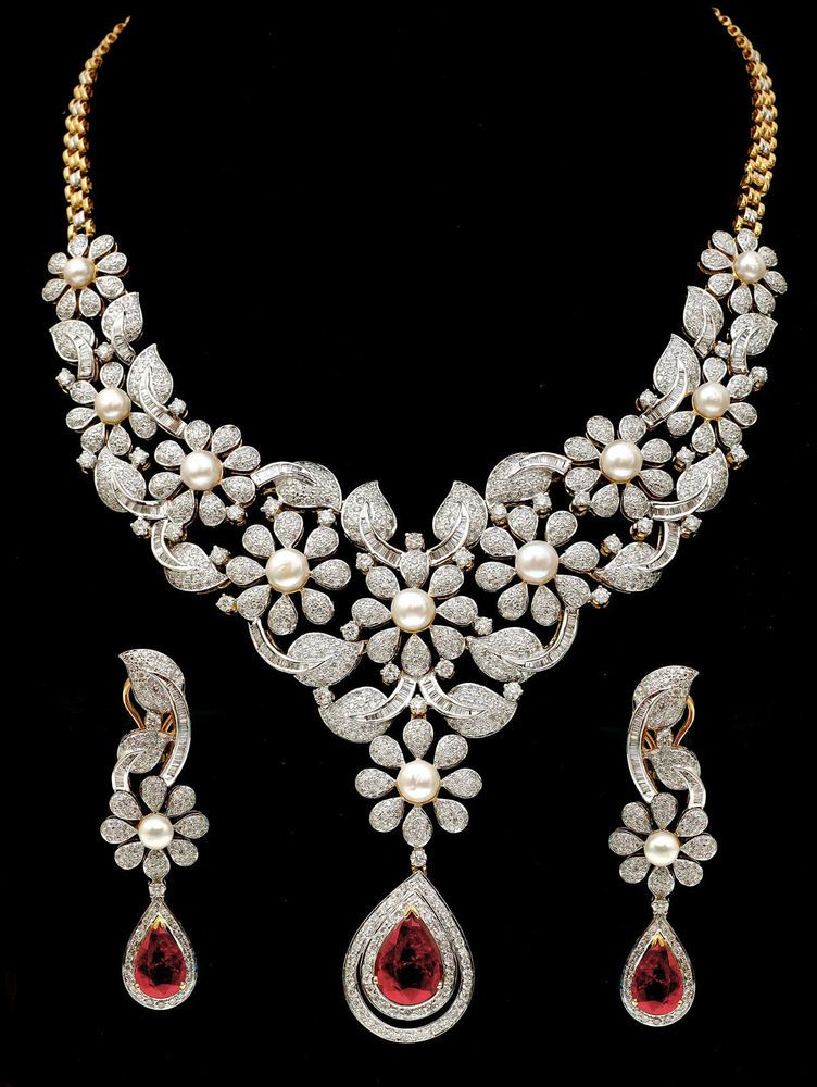 Fine Party / Bridal Wear Necklace + Earrings Set With Ruby