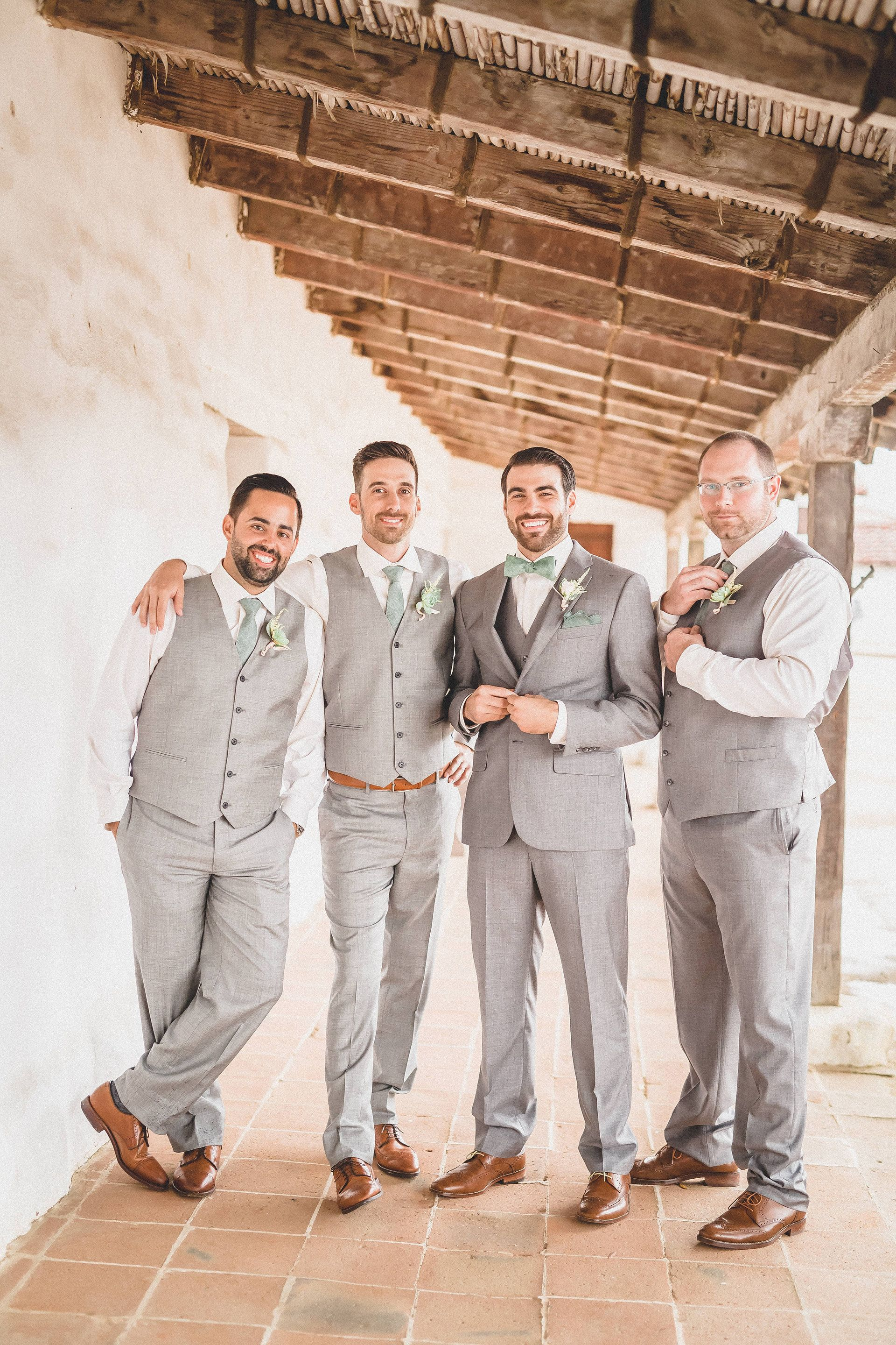 f363f2e09 Brown shoes, light grey suits, sage green ties, groomsmen style, wedding  fashion