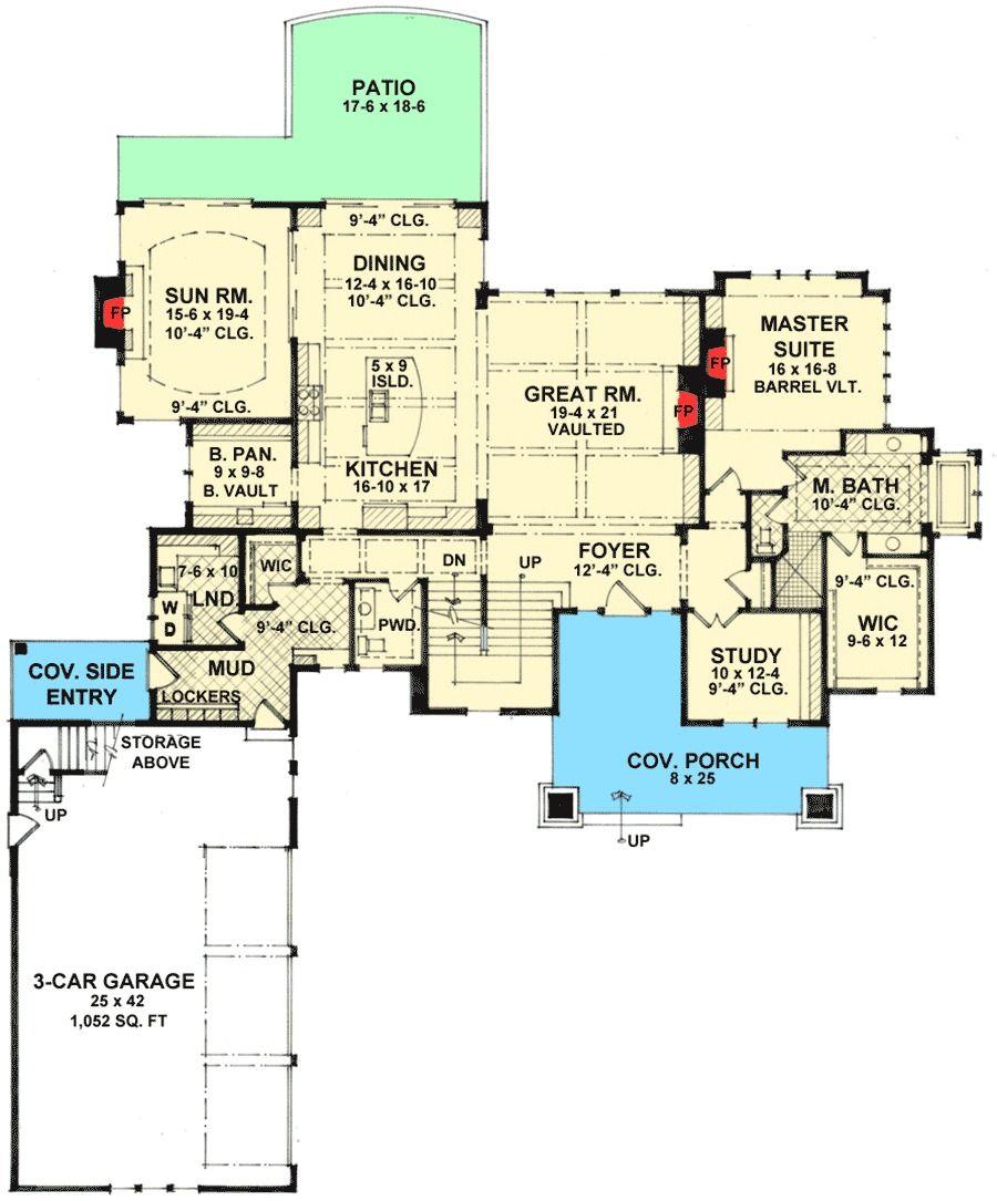 Plan 14623rk  4 Bed Craftsman Dream Home Plan In 2019