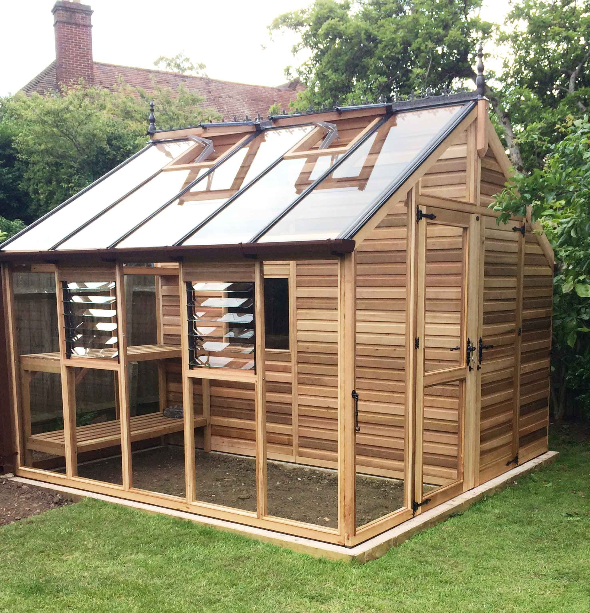 Cedar centaur shed greenhouse combo 12x12 gardening for Garden greenhouse design