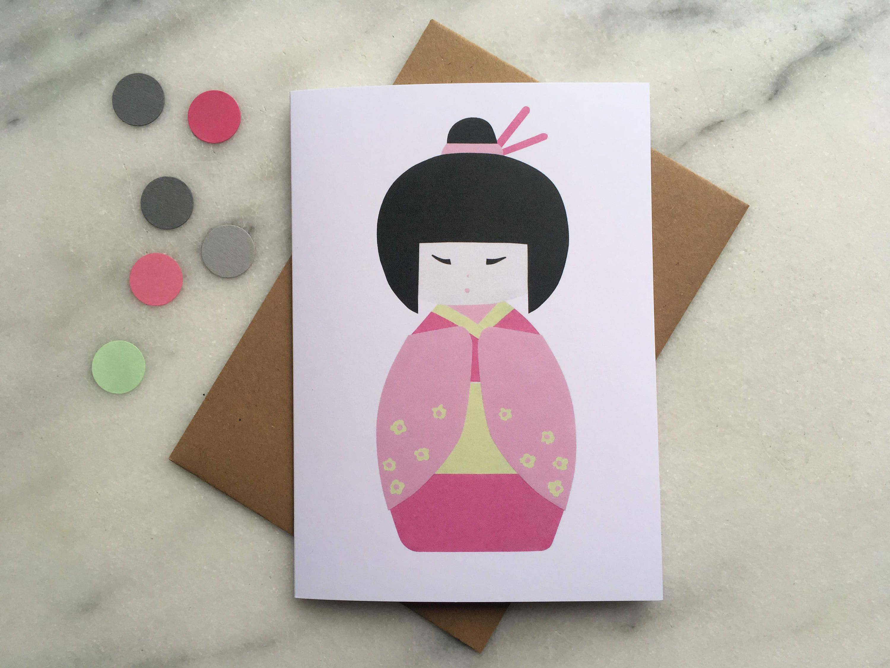 Japanese Card Kokeshi Doll Geisha Birthday Spring Greeting Mothers Day For Mum Girl By