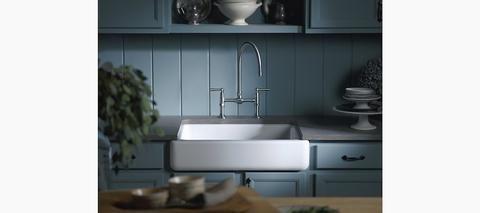 Kohler Whitehaven Self Trimming 30 Under Mount Single Bowl Kitchen Sink With Short Ap Apron Front Kitchen Sink Single Bowl Kitchen Sink Farmhouse Sink Kitchen