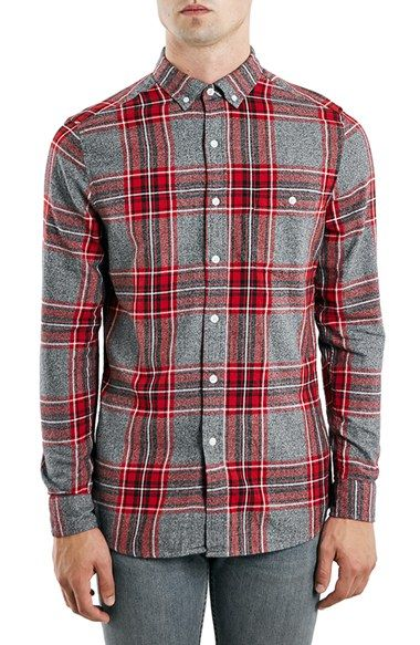 Topman Slim Fit Twill Check Shirt available at  Nordstrom   Long ... a04e918d33f