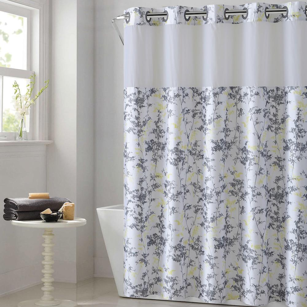 Hookless Floral Leaves Shower Curtain Water Resistant Liner