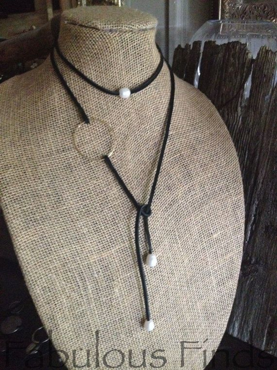 Pearl and Leather Circle Strand Necklace  by loveFabulousFinds, $46.00