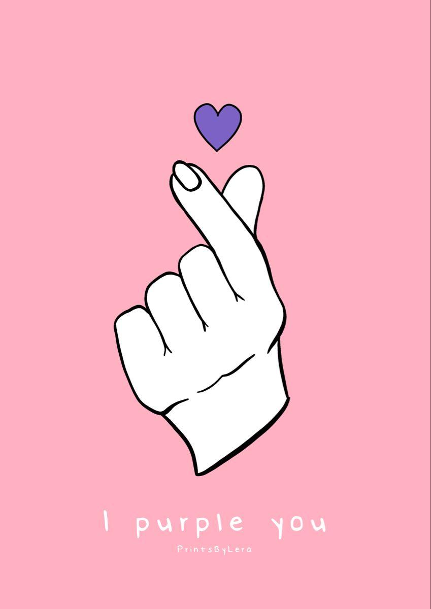 I Purple You Etsy Art Prints Purple Finger Heart Bts wallpaper i purple you