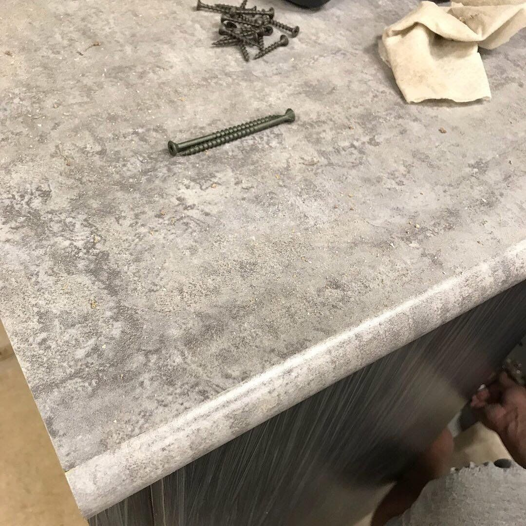 Custom Break Room Cabinets Going In Via Lori Anne Wilson S Office Today Featuring Formica Laminate Elemental Concrete Tops With Idealedge
