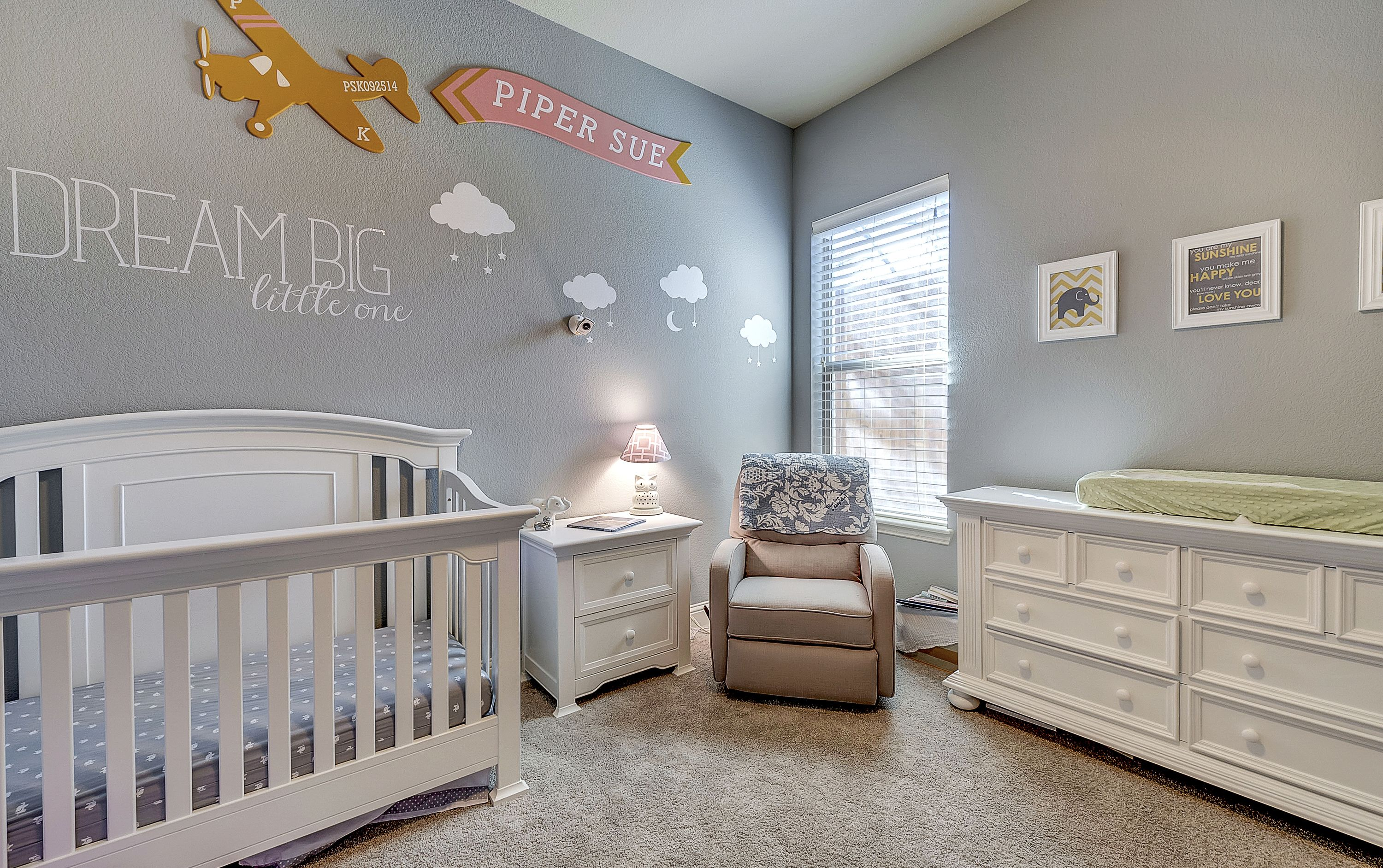 Aviation Clouds Baby Nursery With Grey Yellow And Pink Details
