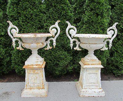Antique Monumental PR Victorian Cast Iron Garden Urns Ornate Castings W/  Handles
