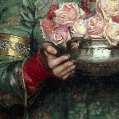 Details of Gather Ye Rosebuds While Ye May, 1908, John William Waterhouse (1849–1917)