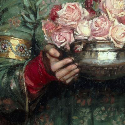 Details of Gather Ye Rosebuds While Ye May, 1908, John William Waterhouse (1849–1917)