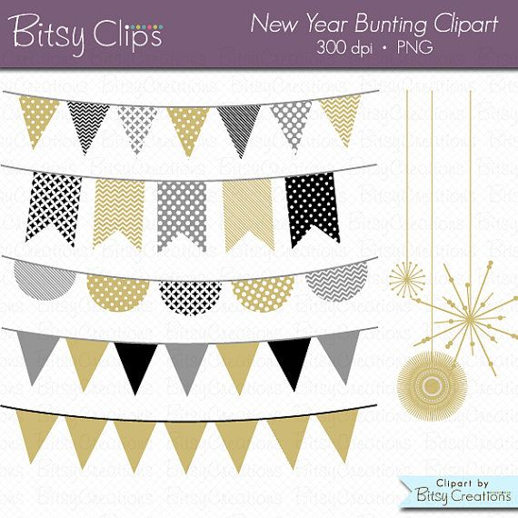 new year bunting clipart digital art set gold banner by bitsyclips