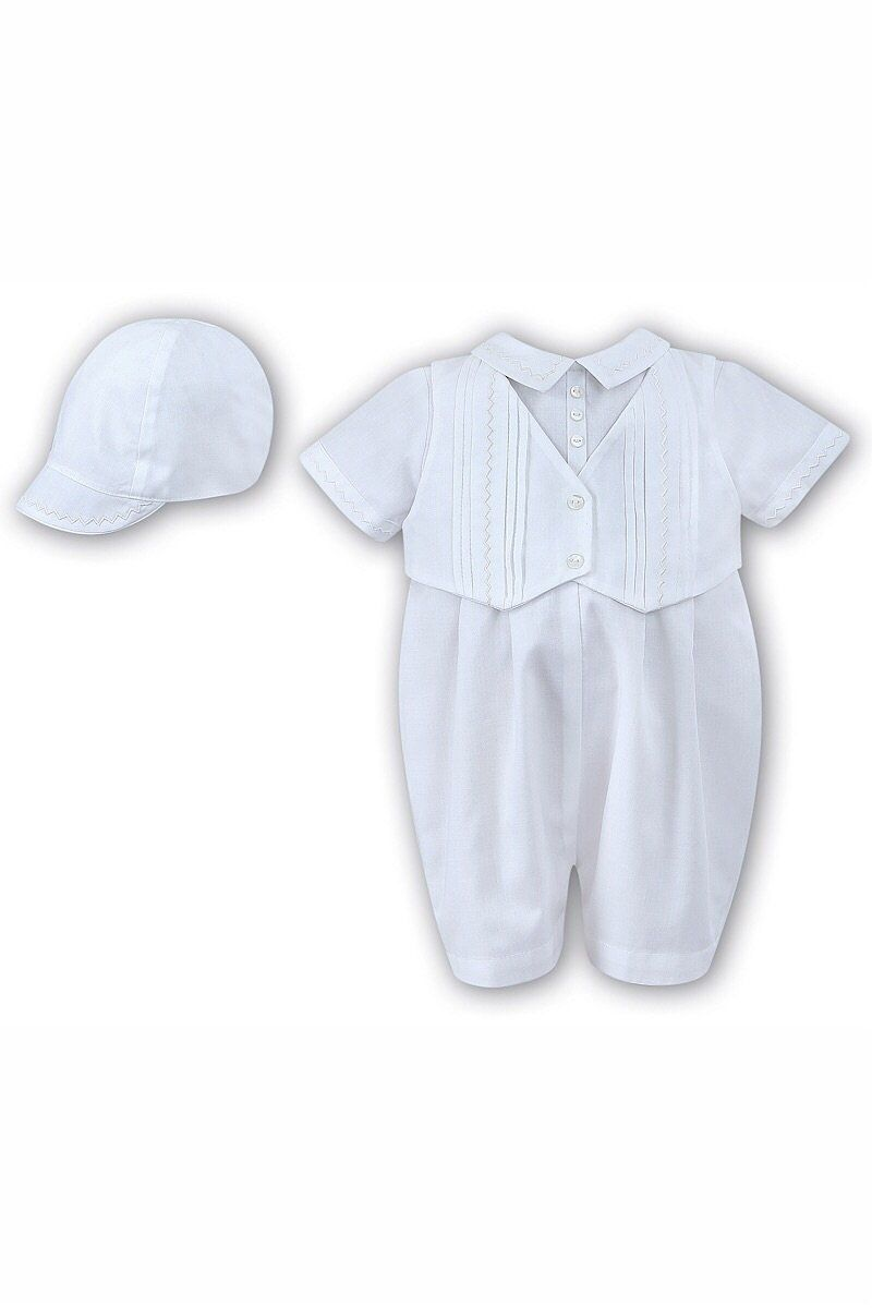 9b4586c76a4b Sarah Louise White Embroidered Romper And Bonnet