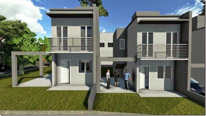 Fachada sobrado5 arquitetura casas e apartamentos for Diseno apartamentos duplex pequenos