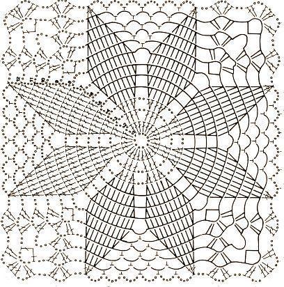 piastrella quadrata con stella di Natale  Crochet Blocks