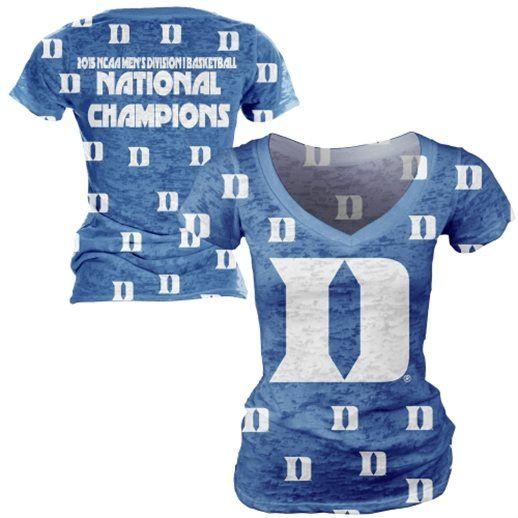 71eea6177609 Duke Blue Devils Women s 2015 NCAA Basketball National Champions Burnout  V-Neck T-Shirt