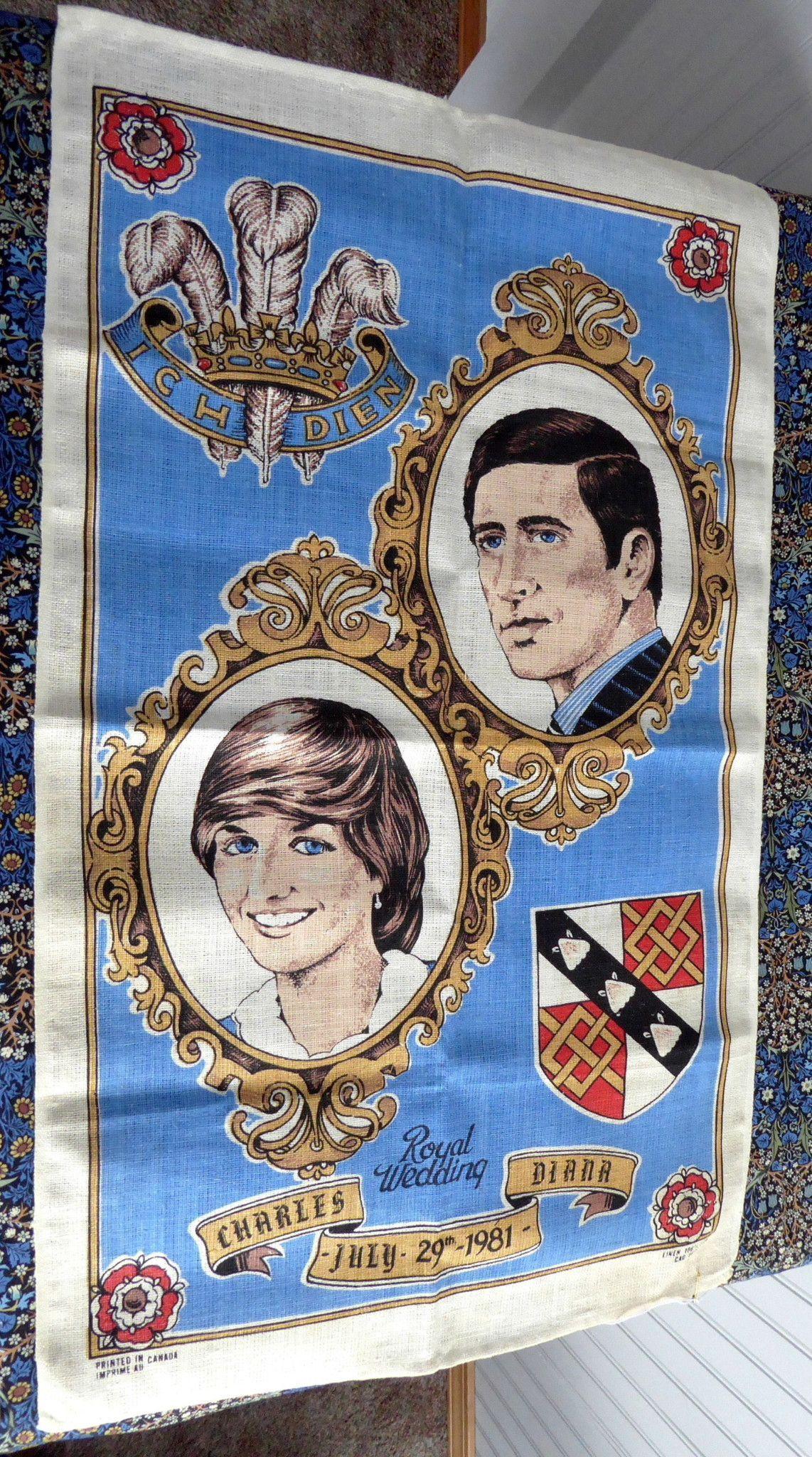 Tea Towel Royal Wedding Charles Diana 1981 Linen Blue Dish