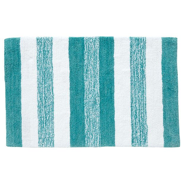 Grandeur Marle Stripe Bath Mat   Aqua + White Target Australia 22$