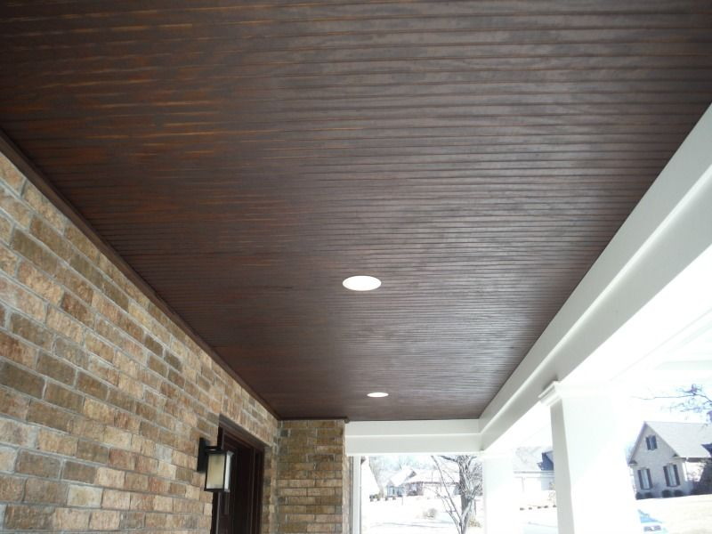 4x8 Fir Beaded Panel Stained Porch Ceilings Porch