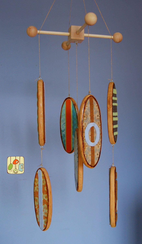 Baby mobile surfboards reclaimed wood and designer prints surf baby nursery s u r f i n - Designer babymobel ...