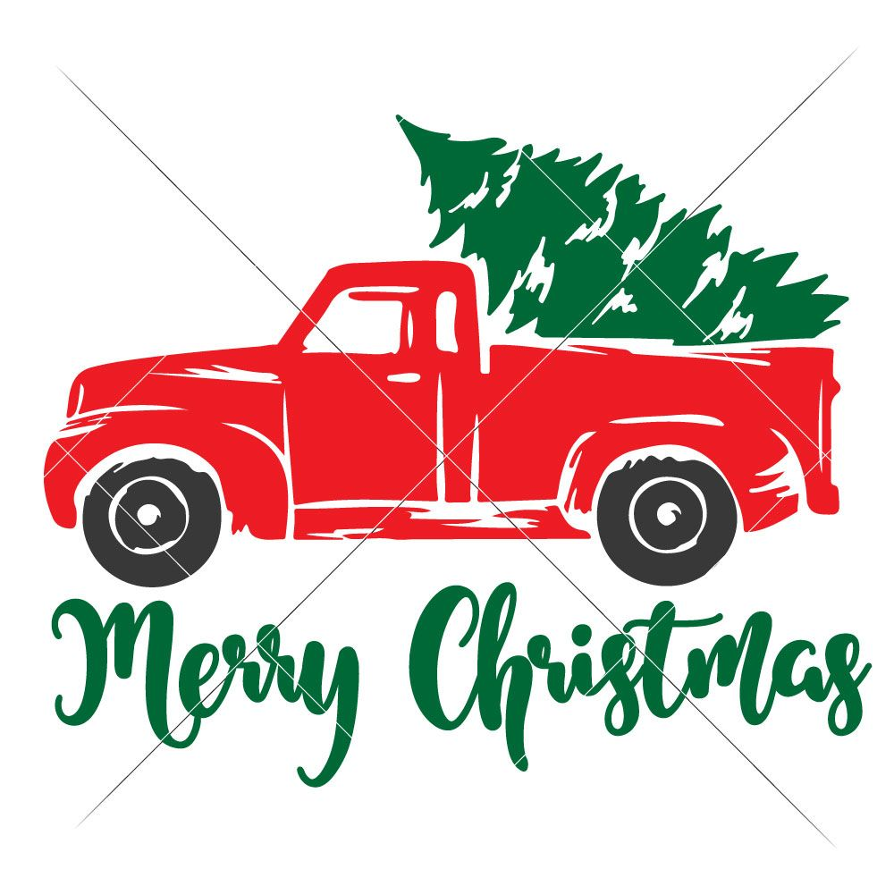 Christmas SVG Tree Truck for Silhouette or other craft cutters g