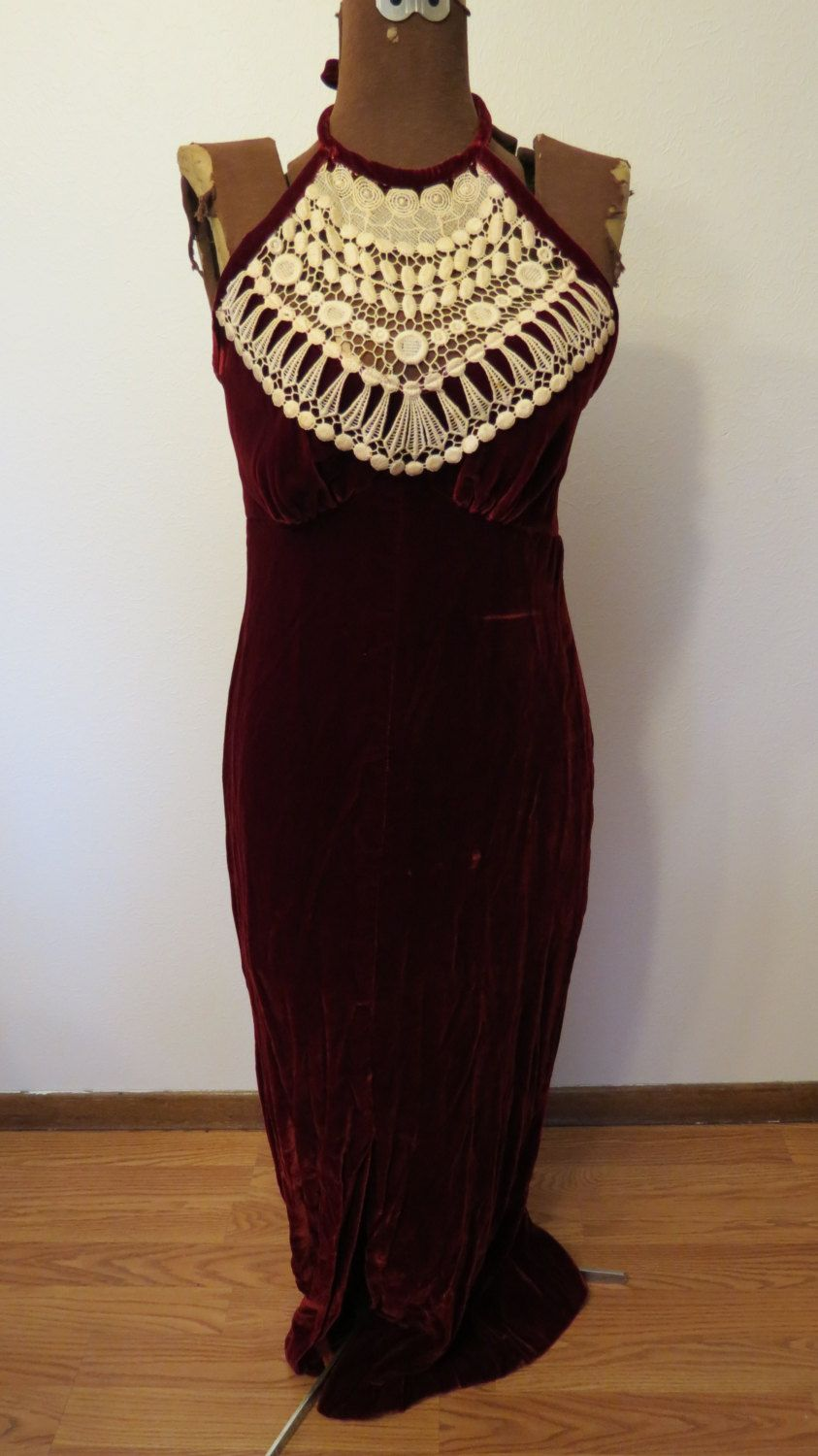 Vintage 30s Style Scarlet Red Crushed Velvet Full Length Halter Dress w Side Slit Size Small - Holiday Christmas New Years Party by AdoredAnew on Etsy