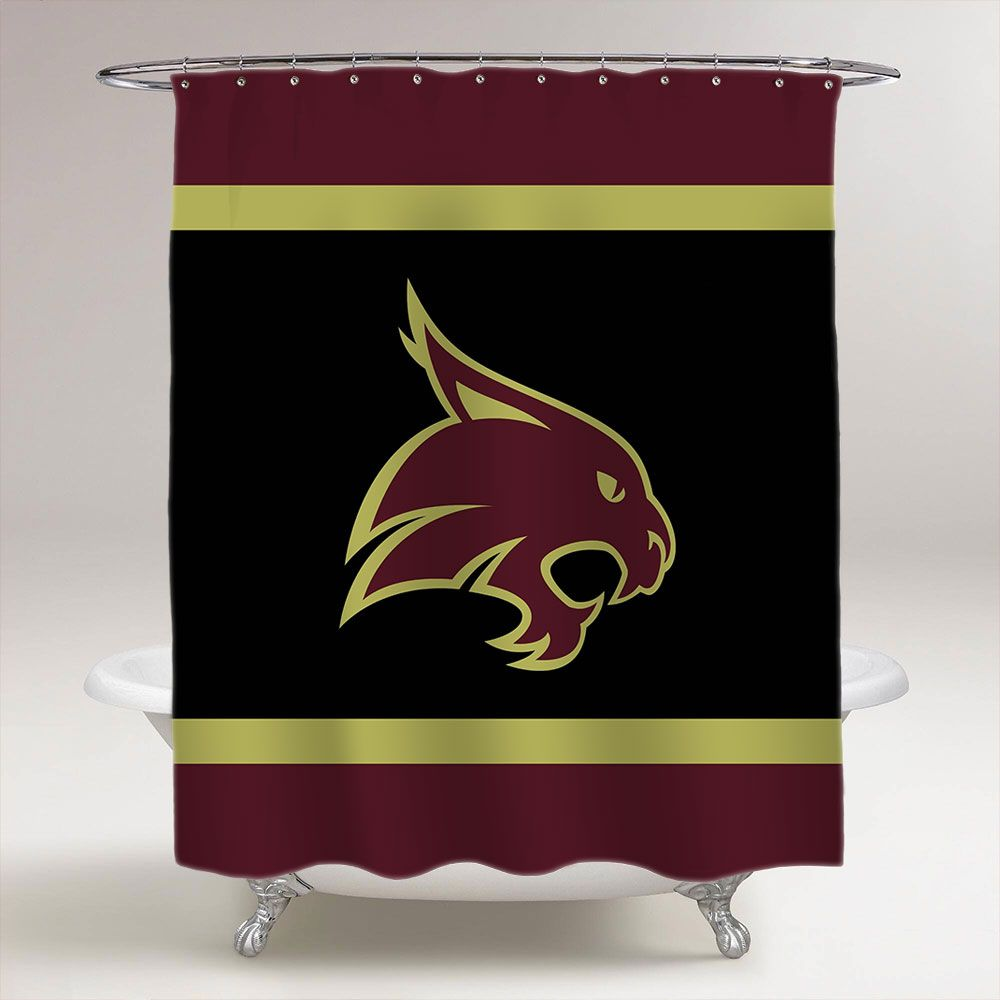 Texas State Bobcats Ncaa College Football Bathroom Shower Curtain