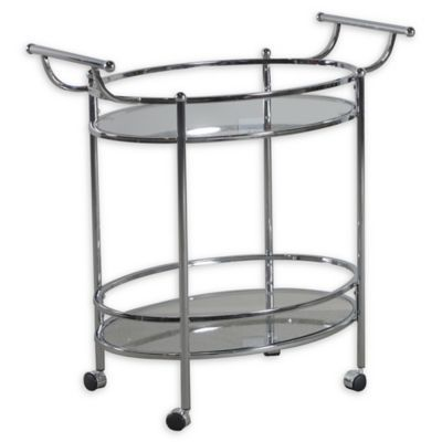 Furniture of America CM-AC228 Loule Chrome Serving Kitchen Carts//Islands