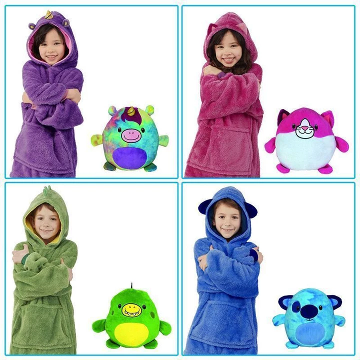 Children Huggle Hoodie Blanket Sweatshirt for Kids