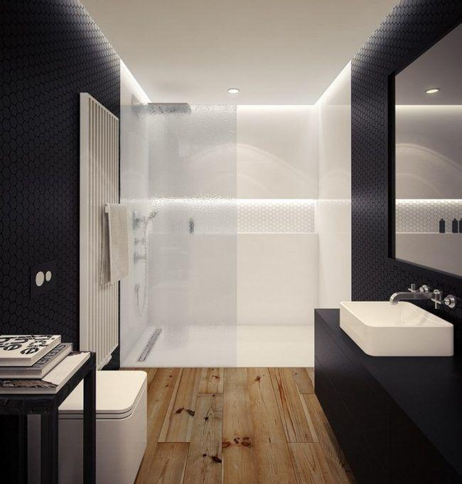 ebenerdige-dusche-badezimmer-mattglas-trennwand-schwarz-weiss - badezimmer schwarz weiß