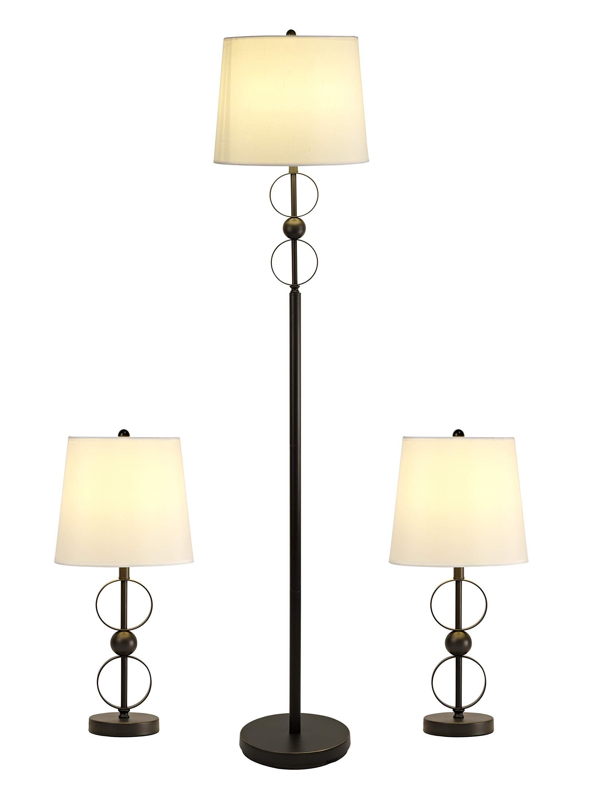 Smeike Three Pack Lamp Set 2 Table Lamps 1 Floor Lamp Modern Lamp Sets Of 3 With White Fabric Shades Metal Floor Lamp And In 2020 Modern Lamp Lamp Modern Lamp Sets