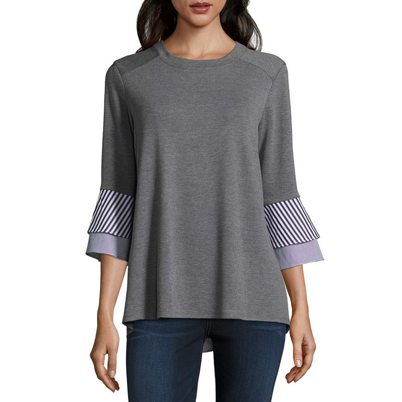 f842ac43b338d0 Alyx Womens Round Neck 3/4 Sleeve Knit Blouse | Products | Sleeves ...