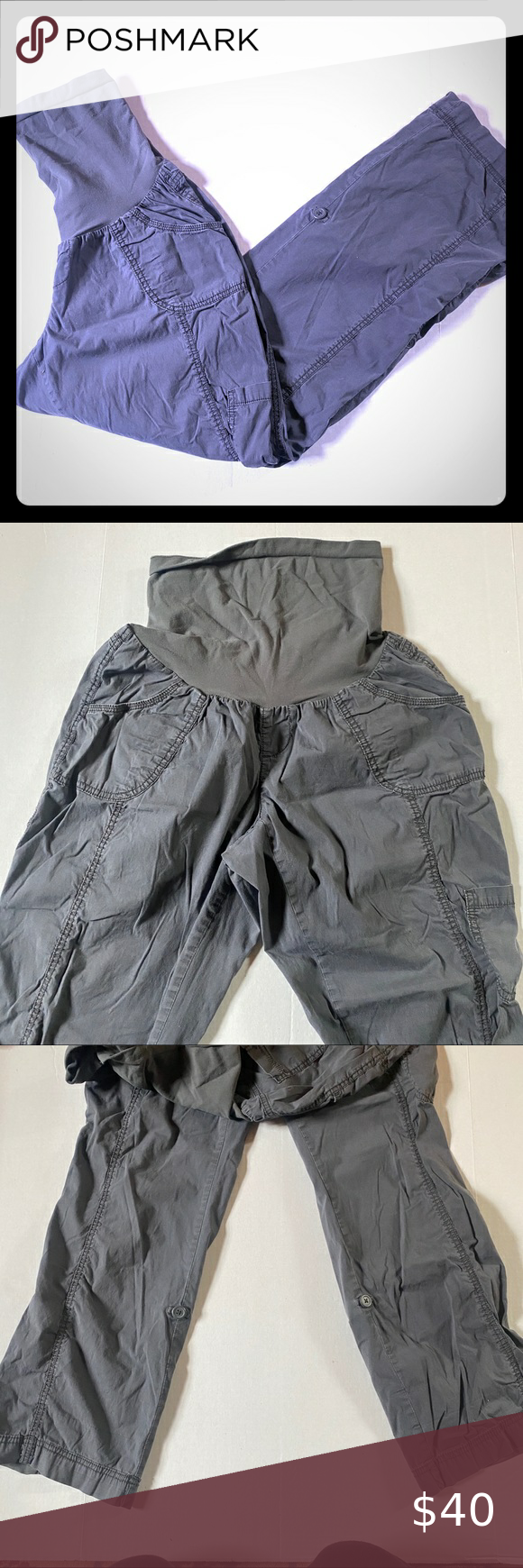 Oh Baby Grey Maternity Cargo Pants